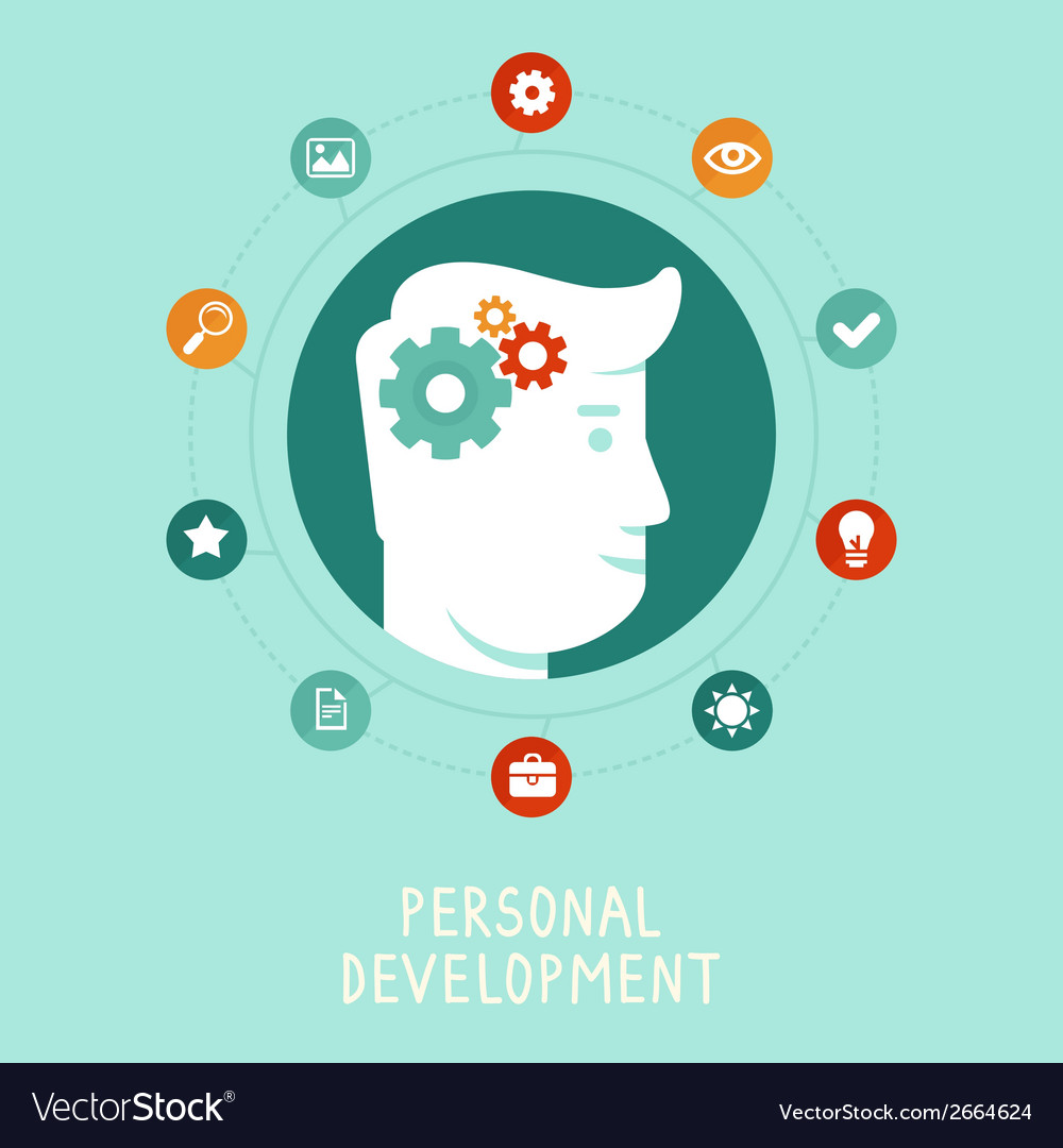 Personal development concept in flat style vector | Price: 1 Credit (USD $1)