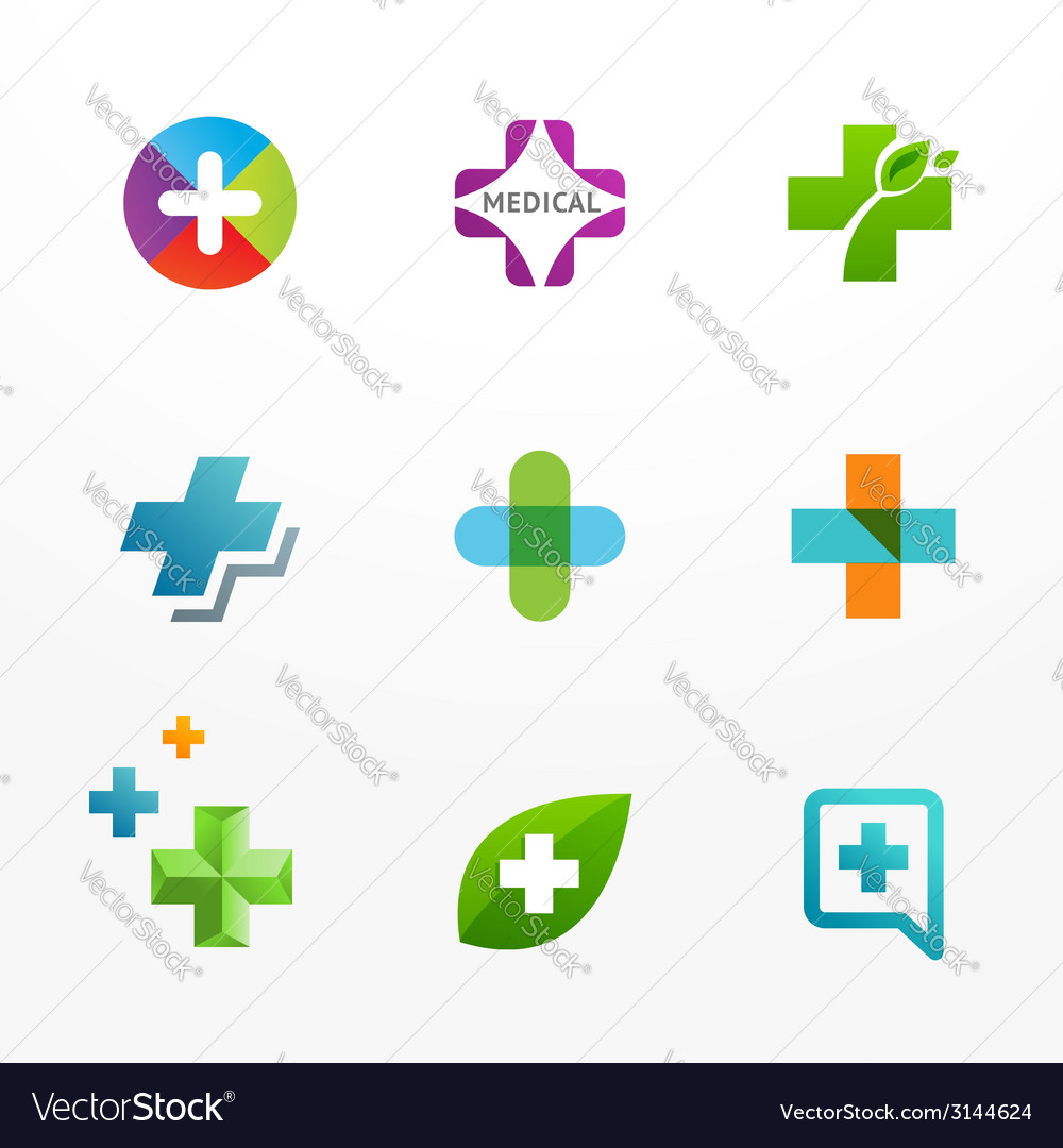 Set of medical logo icons with cross and plus vector | Price: 1 Credit (USD $1)