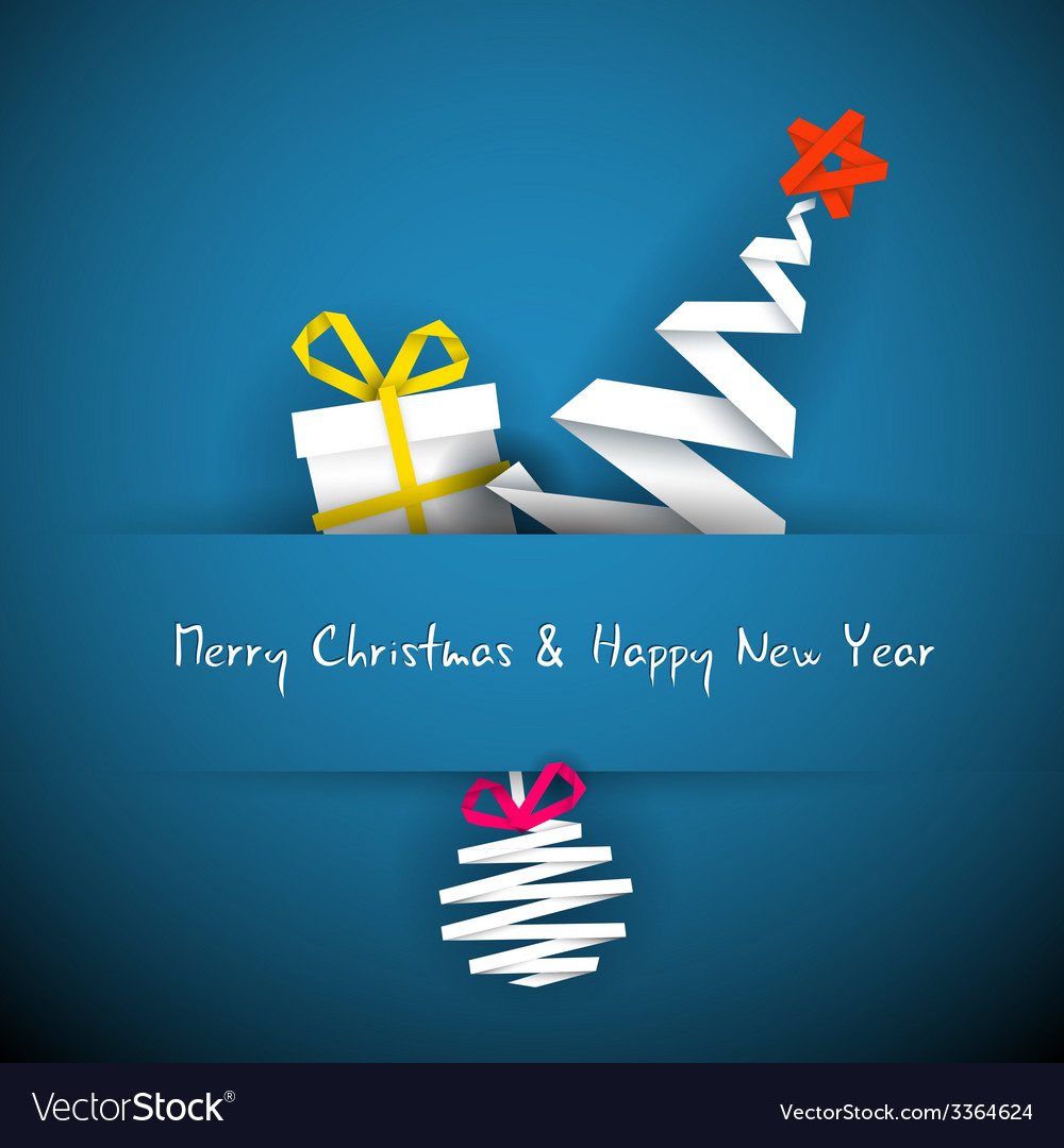 Simple blue christmas card with gift tree and vector | Price: 1 Credit (USD $1)