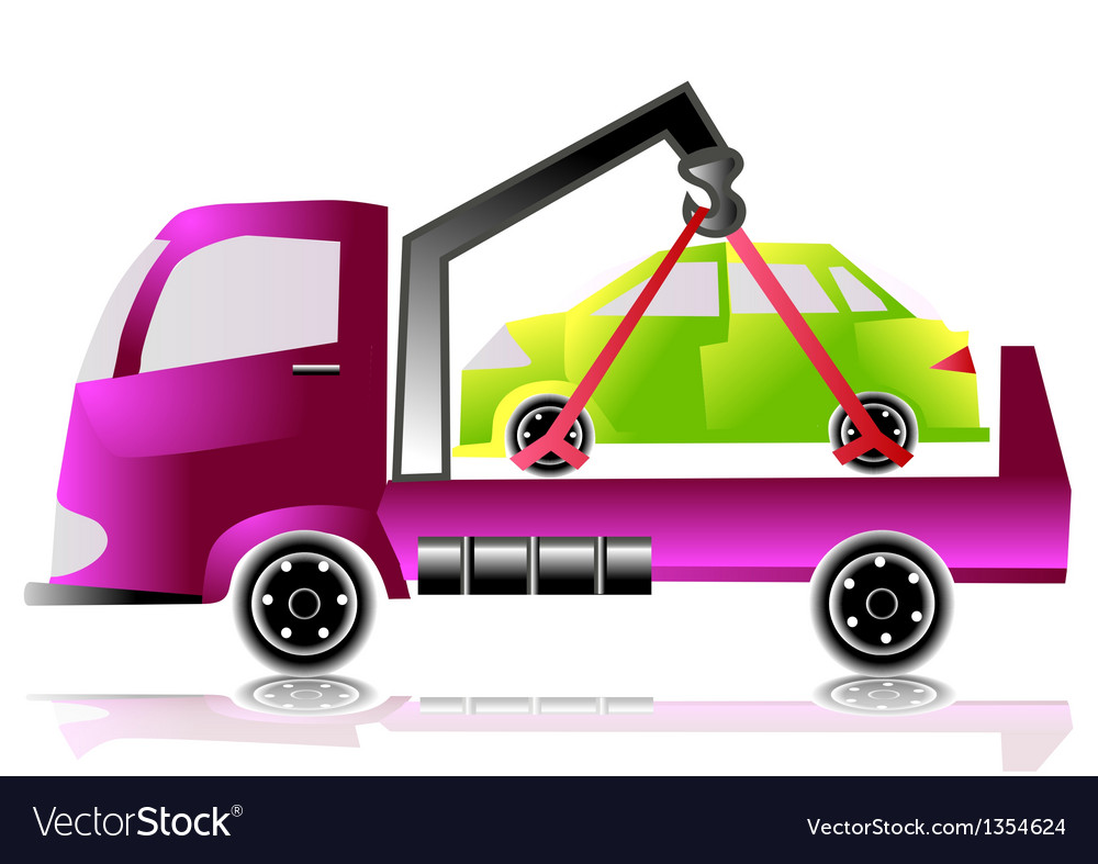 Tow truck with a car vector | Price: 1 Credit (USD $1)
