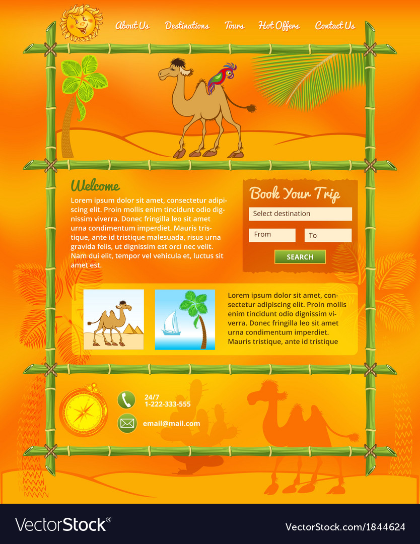 Tropic travel concept for web site vector | Price: 1 Credit (USD $1)
