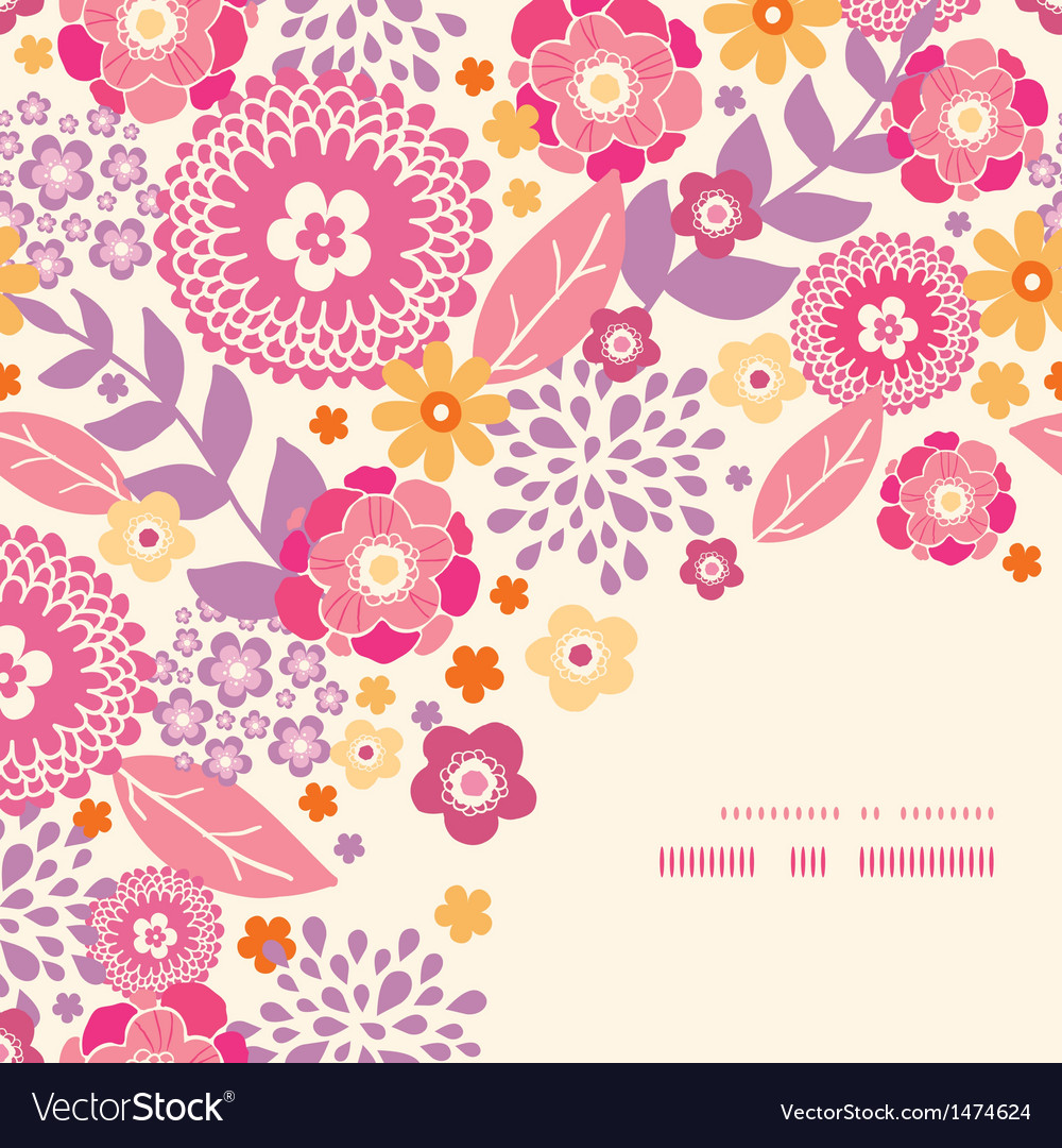 Warm summer plants corner frame pattern background vector | Price: 1 Credit (USD $1)