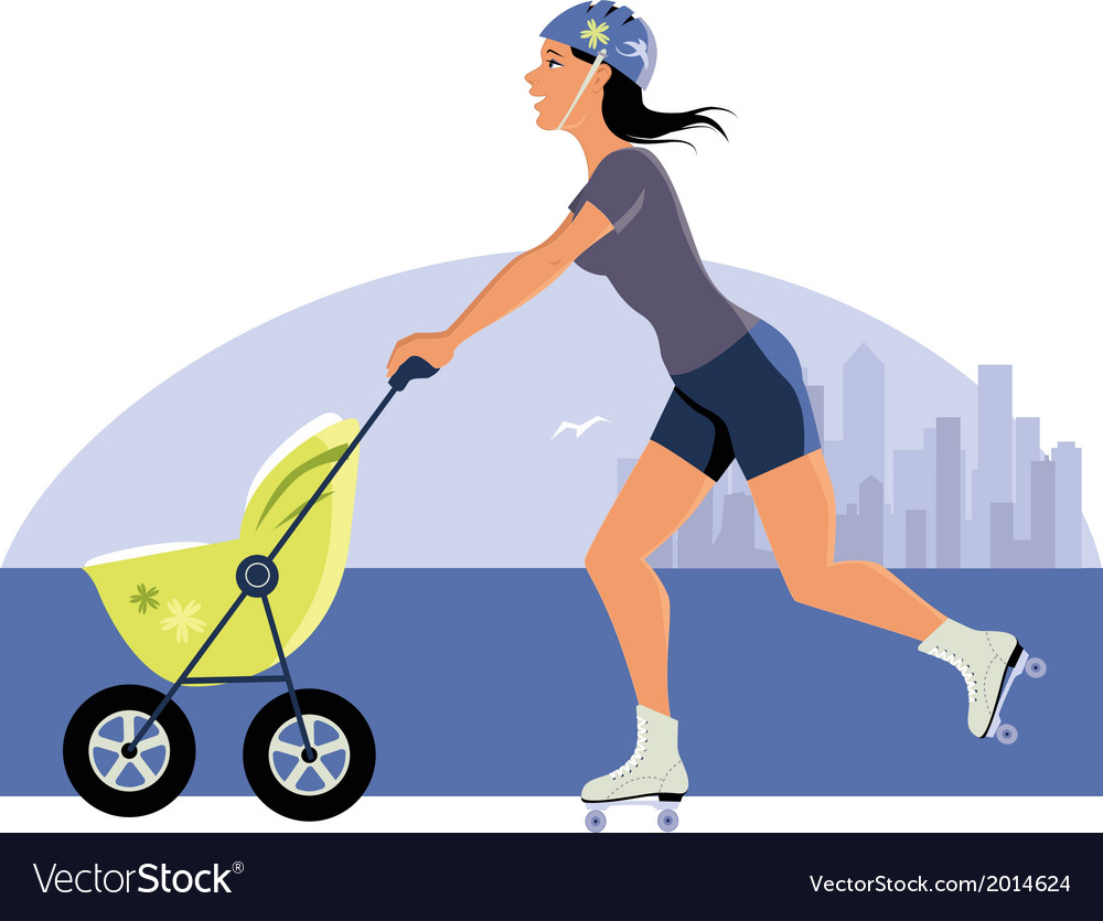 Young mother roller skating with a stroller vector | Price: 1 Credit (USD $1)