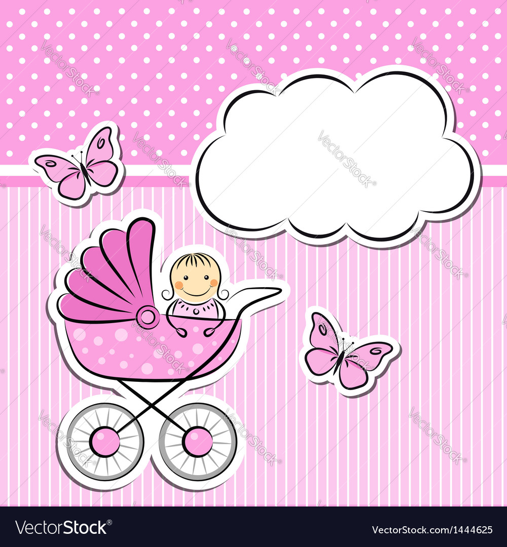 Baby girl arrival announcement vector | Price:  Credit (USD $)