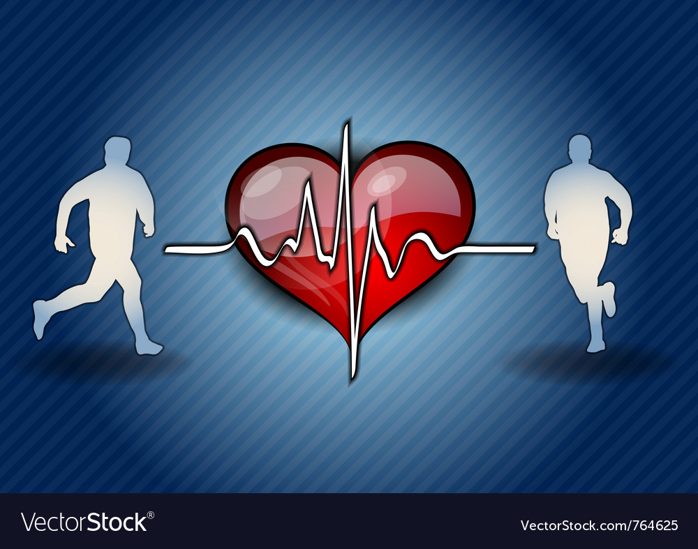Blue runners with the heart symbol vector   Price: 1 Credit (USD $1)