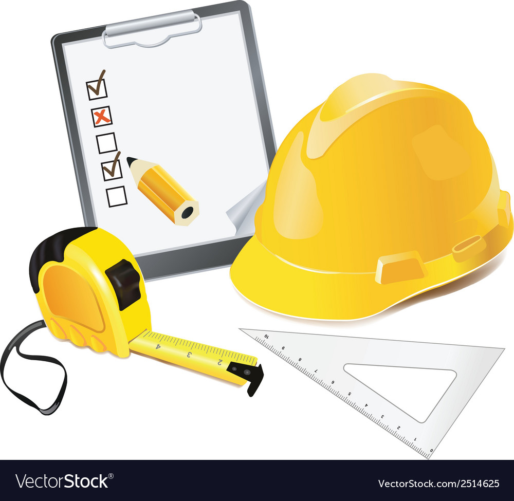 Construction concept helmet pencil and rulers vector | Price: 1 Credit (USD $1)