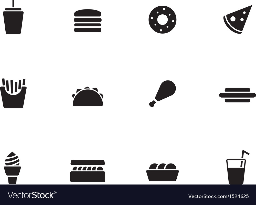 Fast food icons on white background vector | Price: 1 Credit (USD $1)