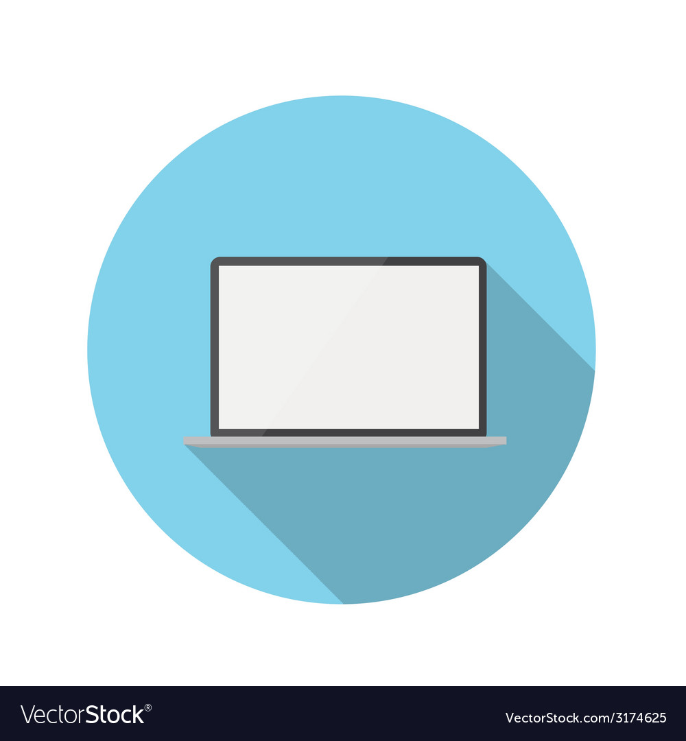 Flat design concept laptop icon with long sh vector | Price: 1 Credit (USD $1)