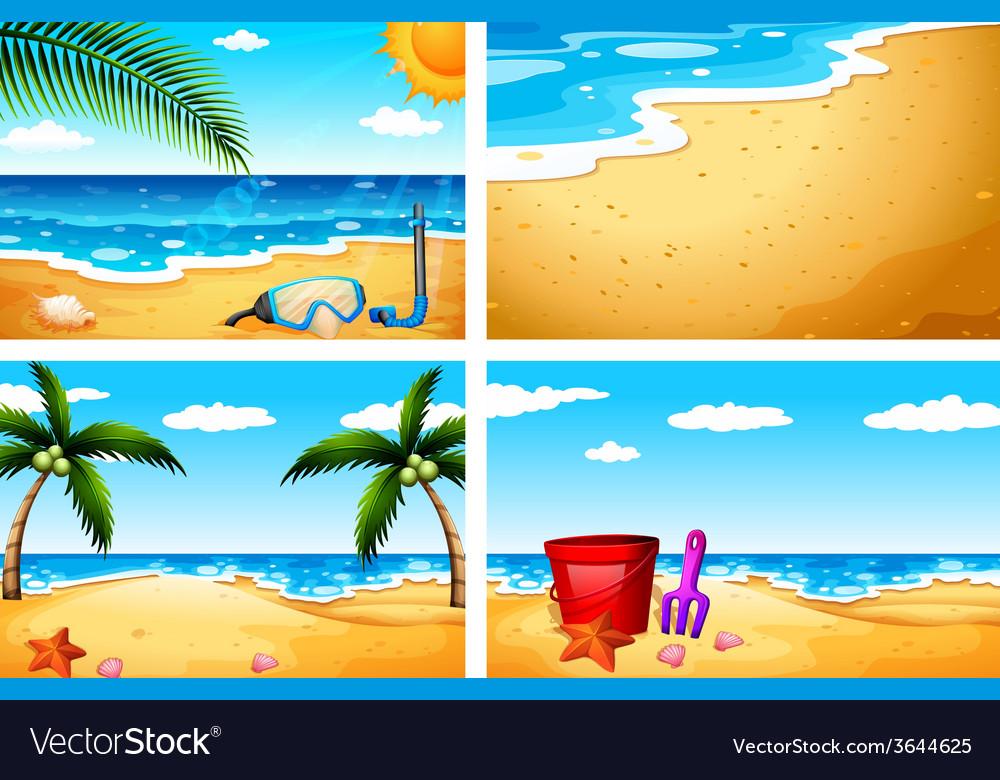 Four beach sceneries vector | Price: 3 Credit (USD $3)