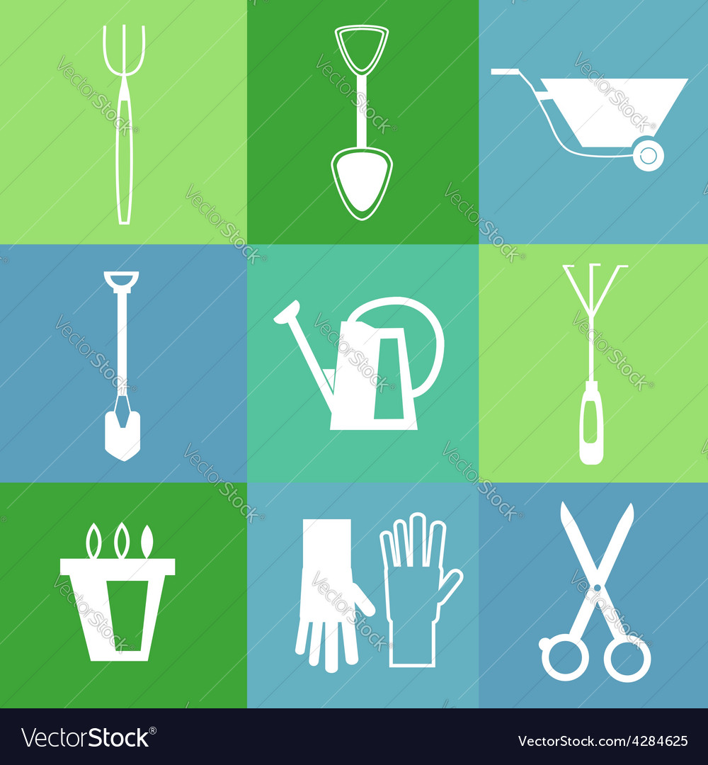 Gardening tools icon set vector | Price: 1 Credit (USD $1)