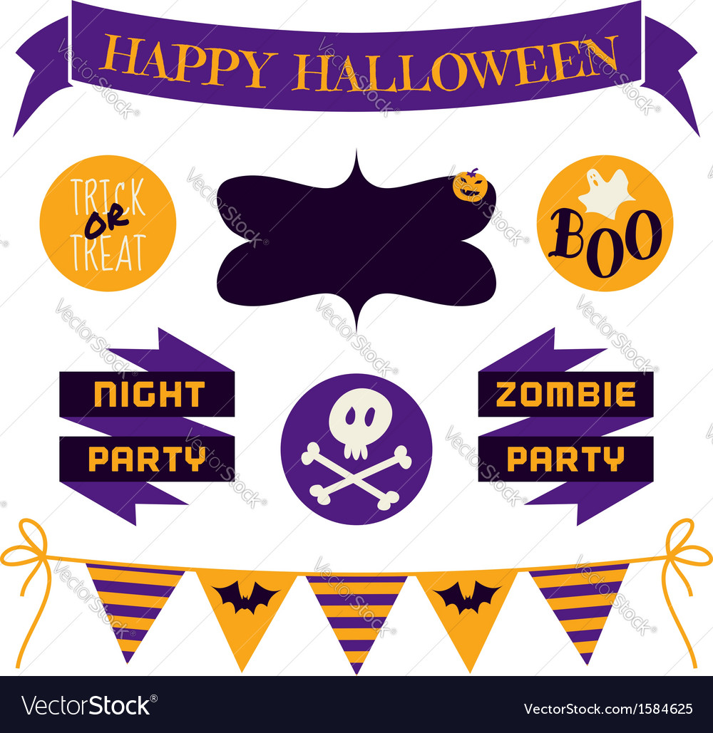 Halloween design elements in purple and yellow vector | Price: 1 Credit (USD $1)