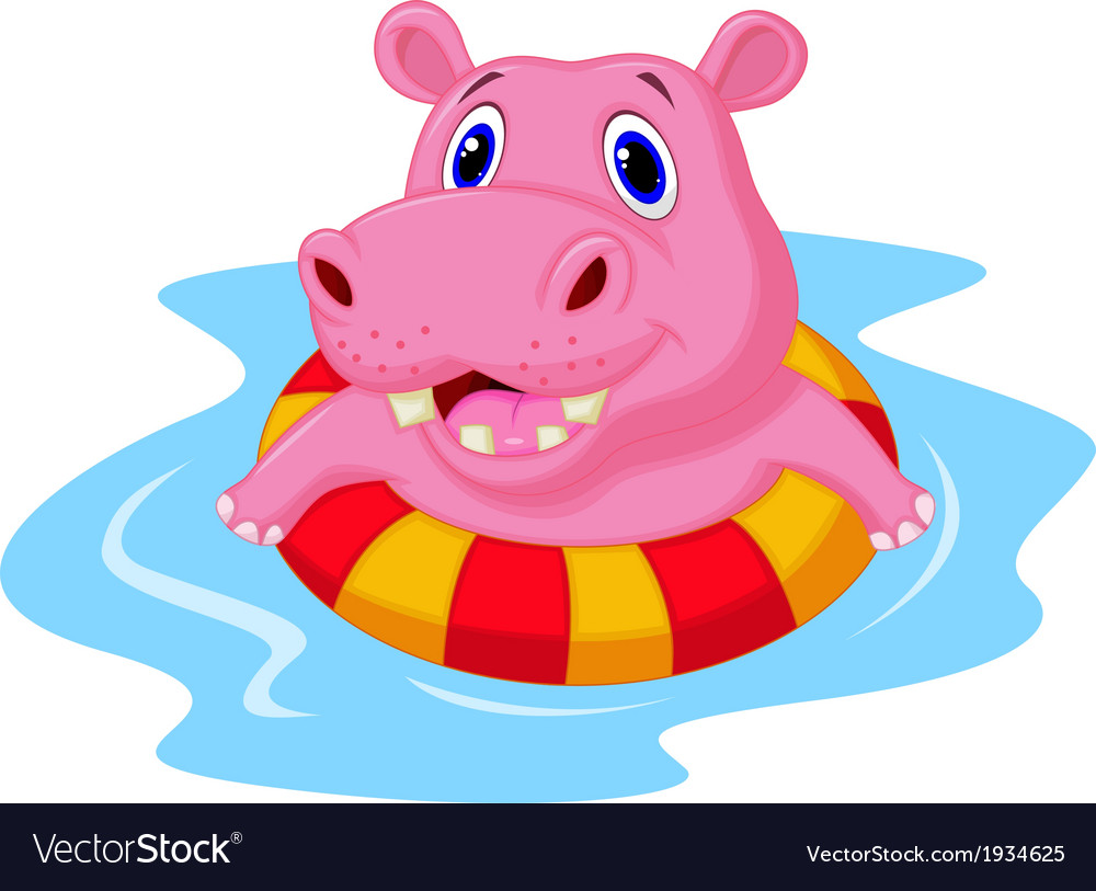 Hippo cartoon floating on an inflatable circle in vector | Price: 1 Credit (USD $1)