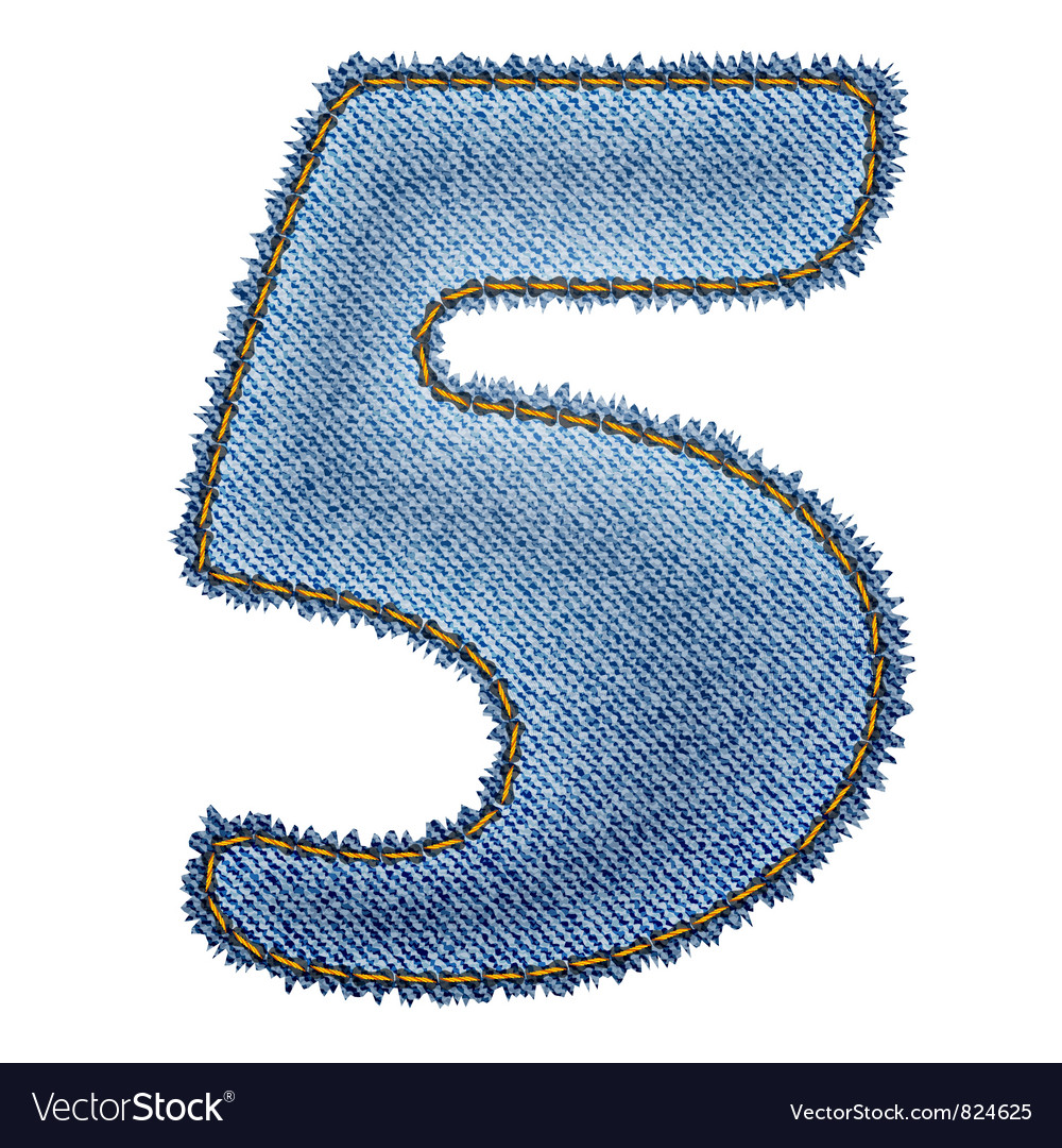 Jeans alphabet denim number 5 vector | Price: 1 Credit (USD $1)