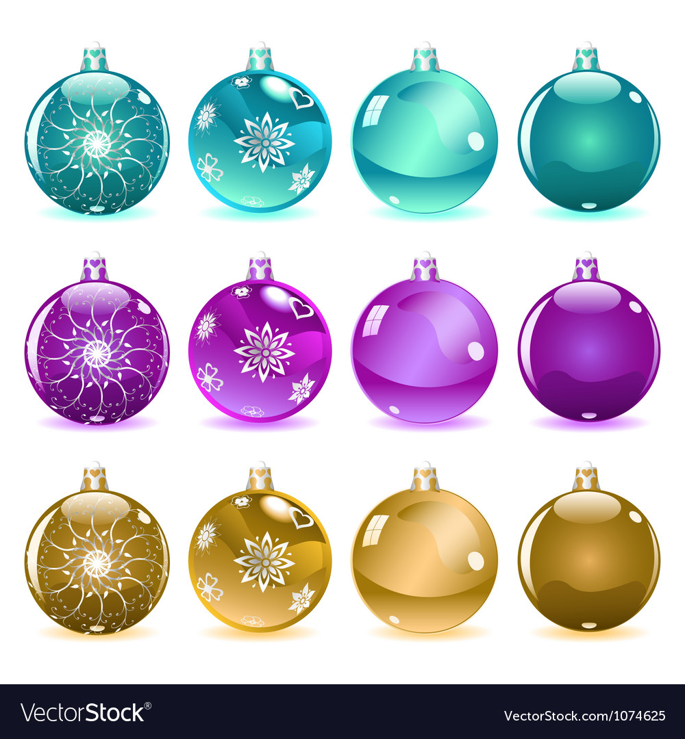 Multicolored christmas balls set 3 of 4 vector | Price: 1 Credit (USD $1)