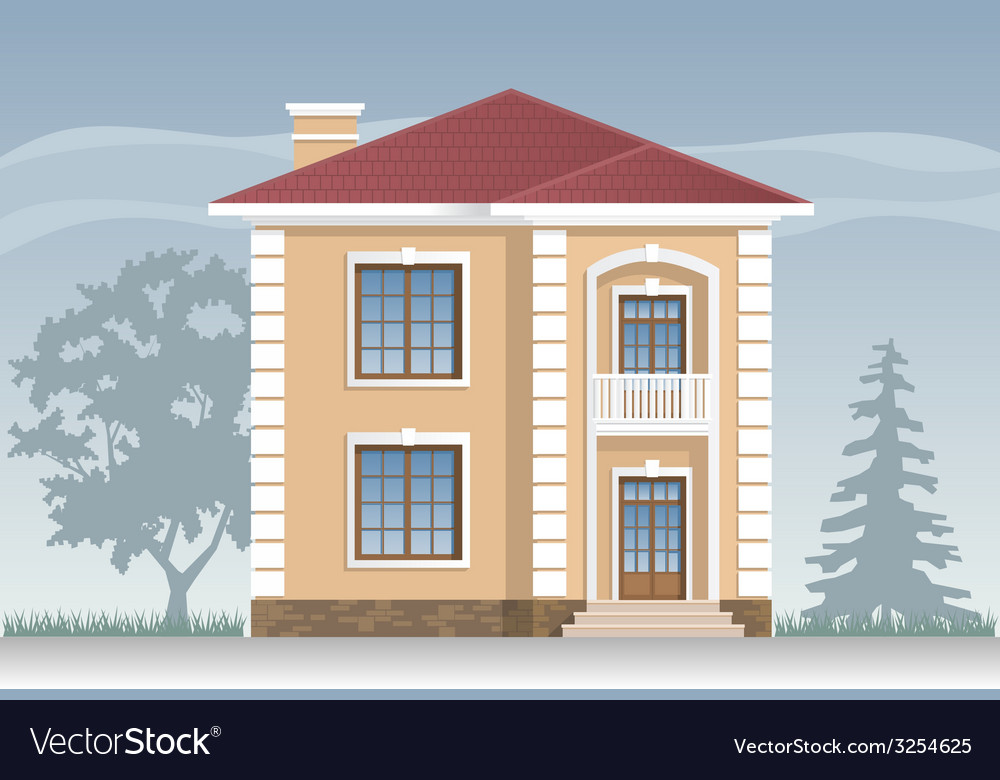 Residential house in beige vector | Price: 3 Credit (USD $3)