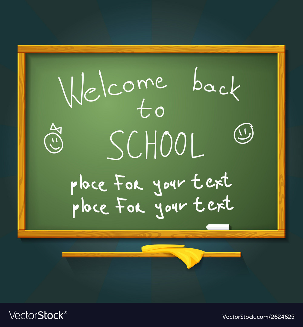 School desk with chalk welcome back message and vector | Price: 1 Credit (USD $1)