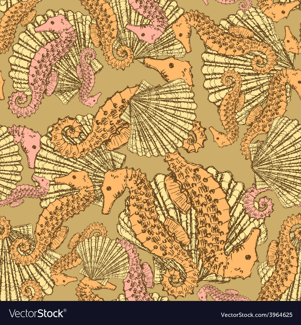 Sketch seahorse and shell in vintage style vector | Price: 1 Credit (USD $1)