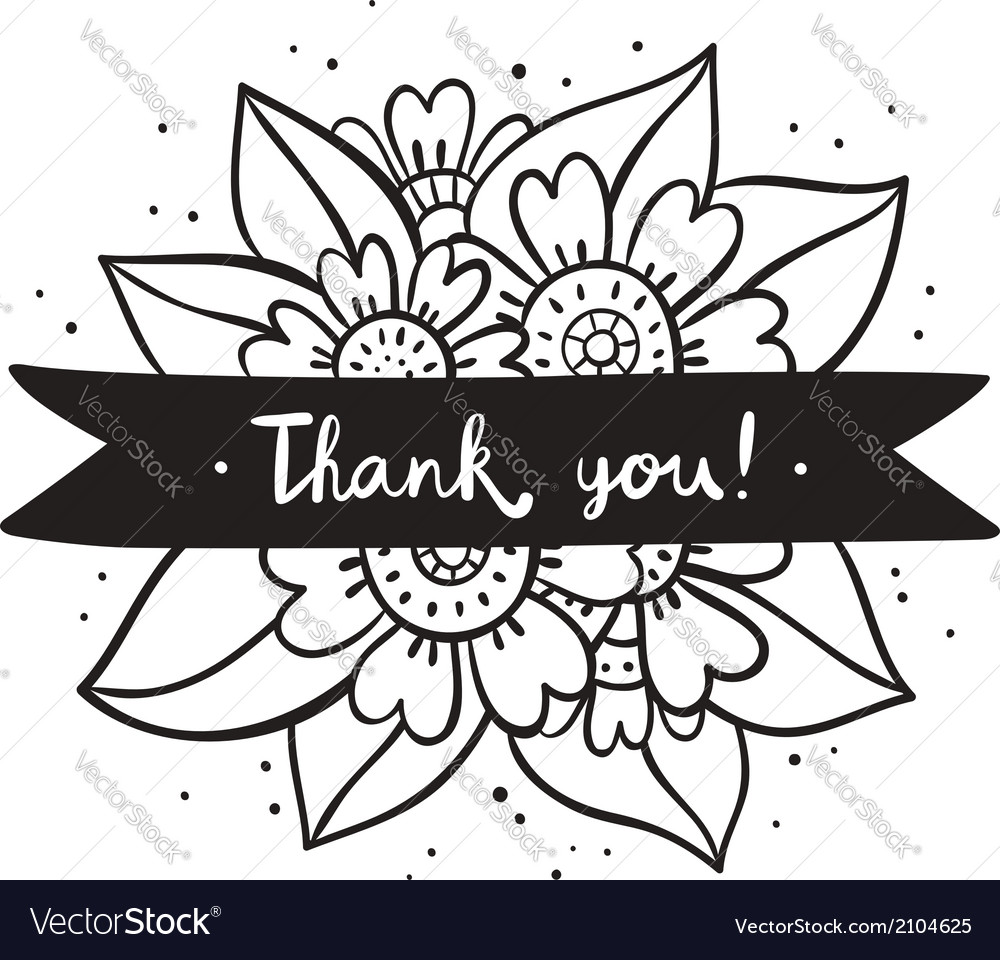 Thank you black flowers vector | Price: 1 Credit (USD $1)