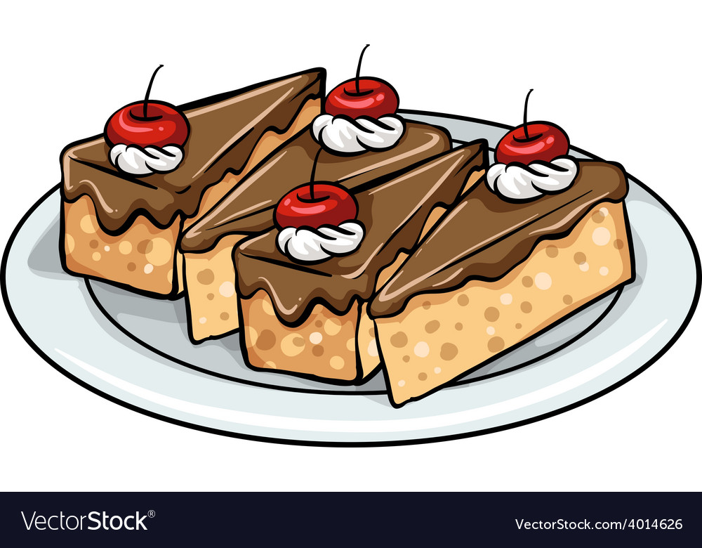 A plate with cakes vector | Price: 1 Credit (USD $1)