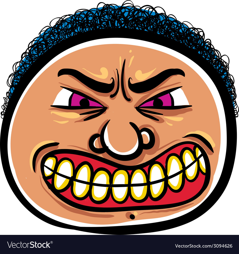 Angry cartoon face vector | Price: 1 Credit (USD $1)