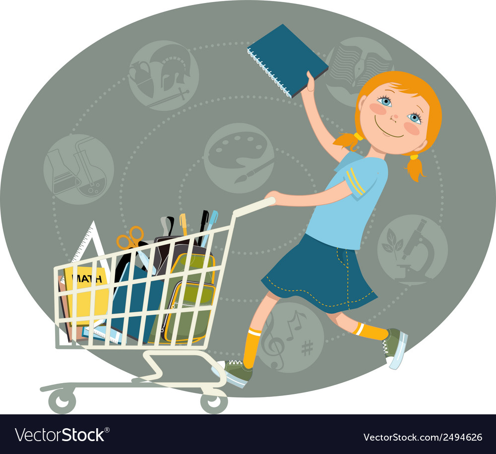 Back to school shopping vector | Price: 1 Credit (USD $1)