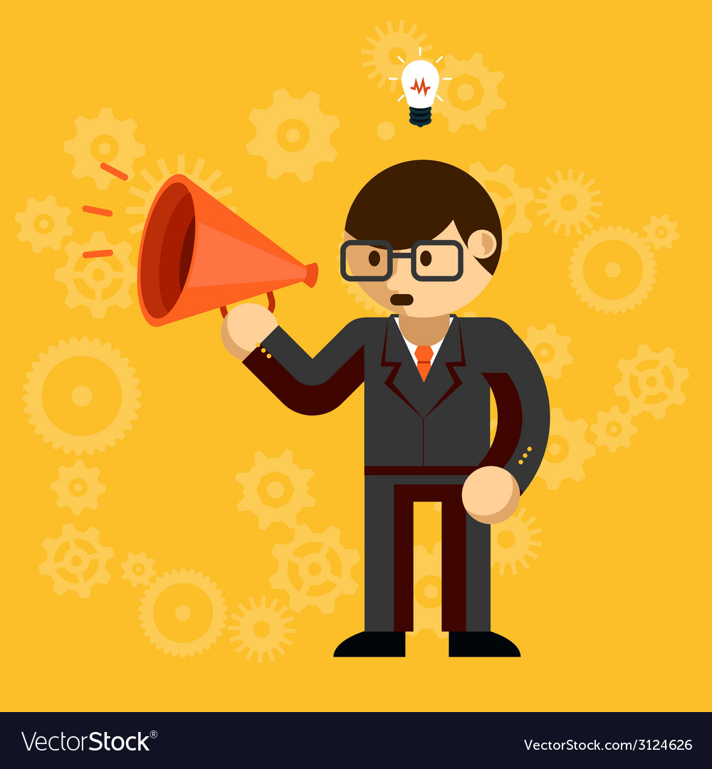 Businessman with a megaphone vector | Price: 1 Credit (USD $1)