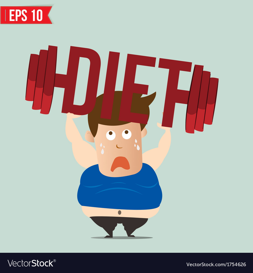 Cartoon lifting barbell for diet - - eps10 vector | Price: 1 Credit (USD $1)