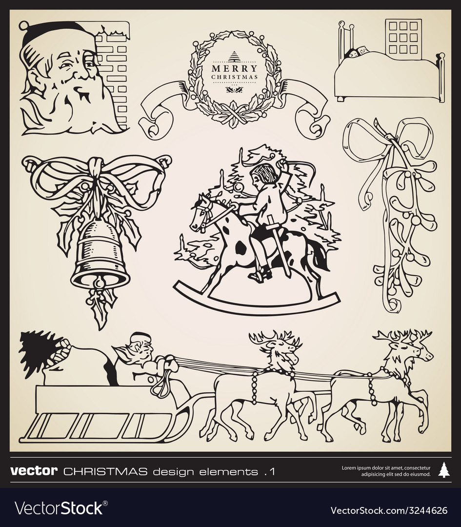 Christmas decorative design elements vector | Price: 1 Credit (USD $1)
