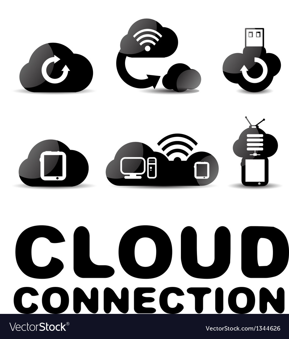 Cloud connection glossy black icon set vector | Price: 1 Credit (USD $1)