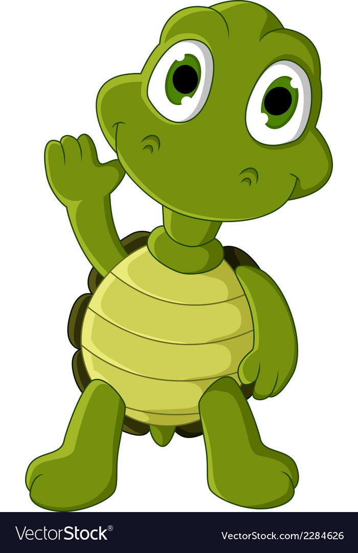 Cute green turtle cartoon vector | Price: 1 Credit (USD $1)