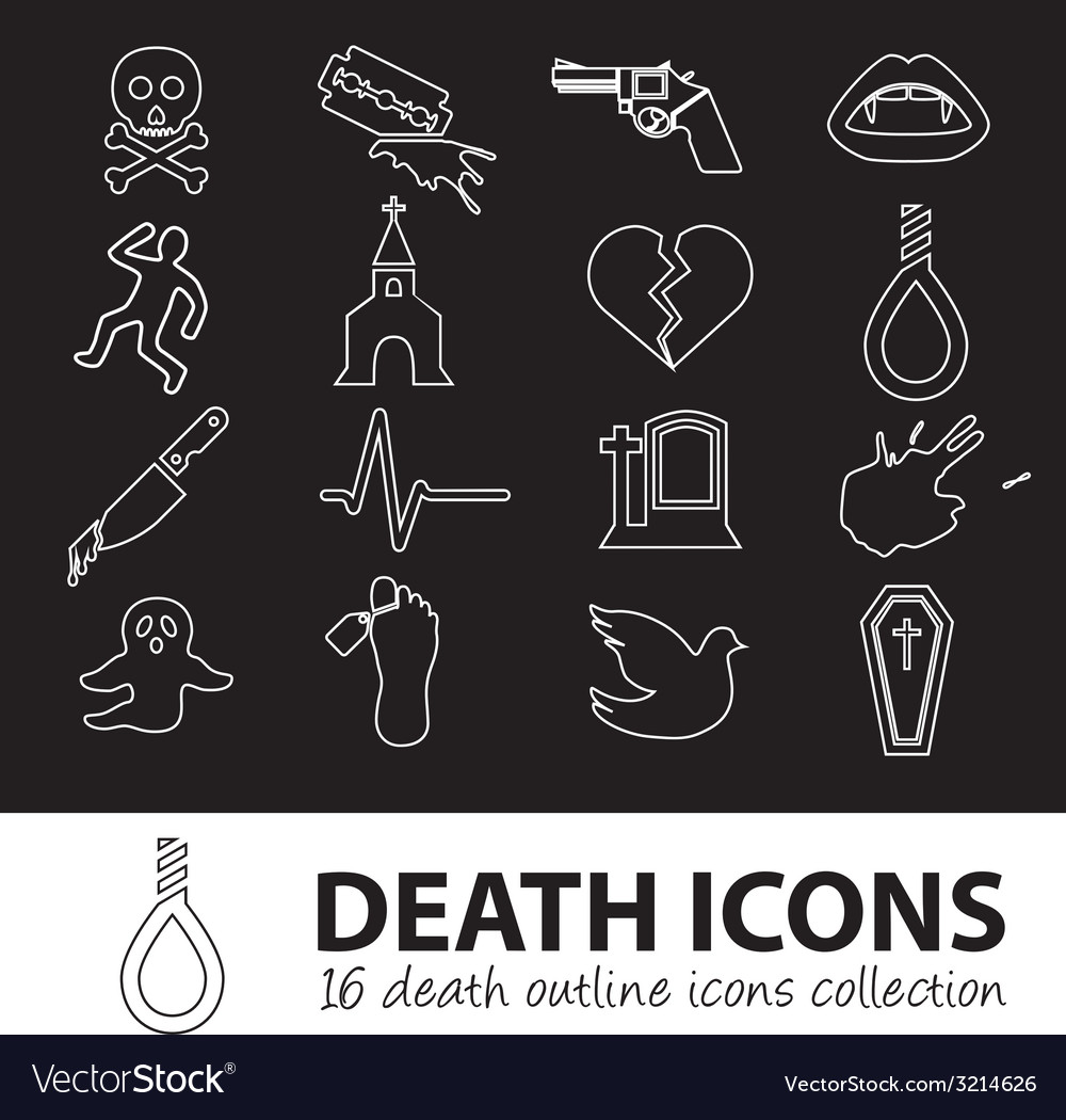Death outline icons vector | Price: 1 Credit (USD $1)