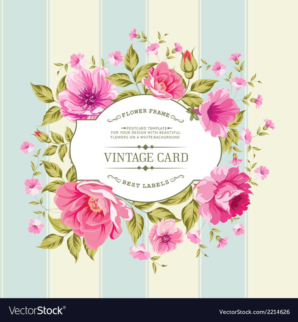 Flower label on the vintage card vector | Price: 1 Credit (USD $1)