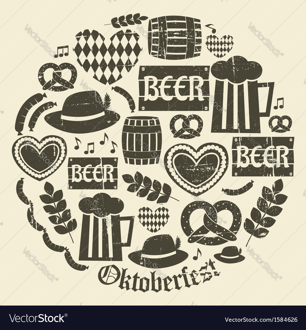 Grungy design oktoberfest icons set vector | Price: 1 Credit (USD $1)