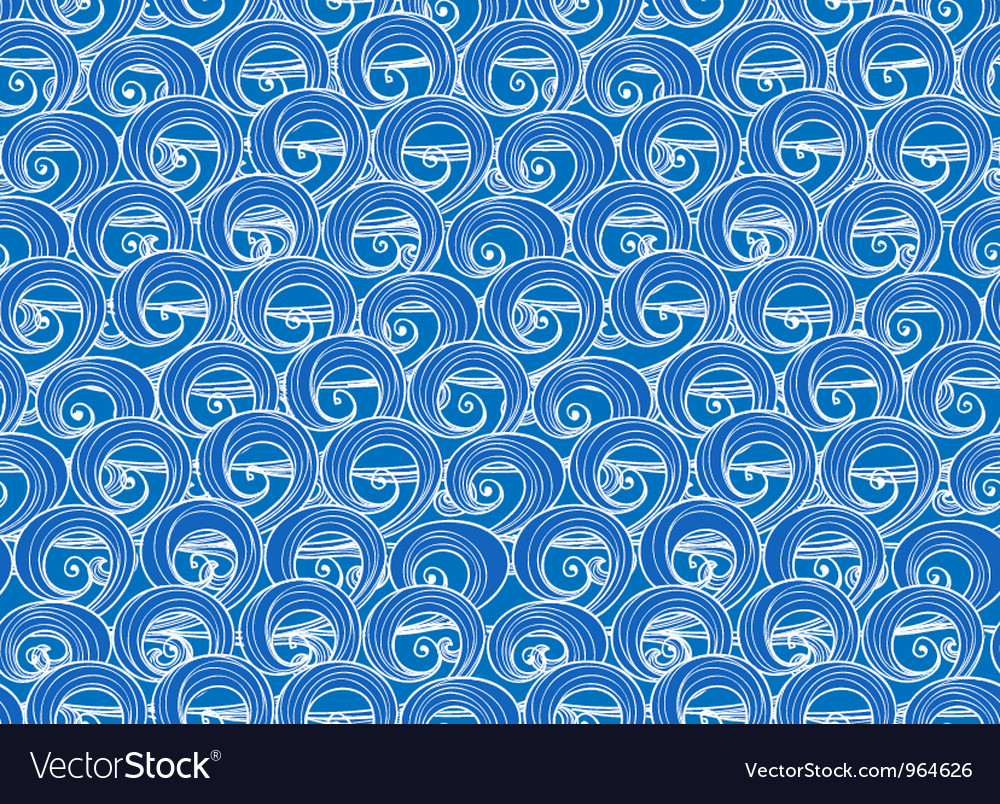 Hand-drawn blue sea waves vector | Price: 1 Credit (USD $1)