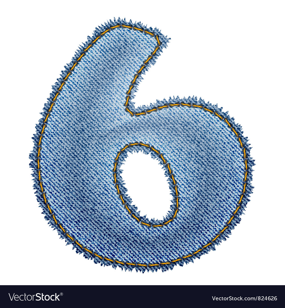 Jeans alphabet denim number 6 vector | Price: 1 Credit (USD $1)