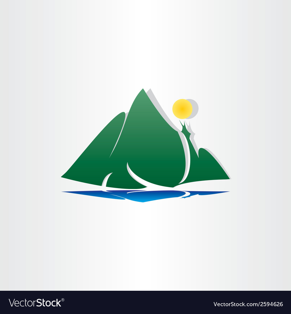 Mountain lake sun symbol vector | Price: 1 Credit (USD $1)