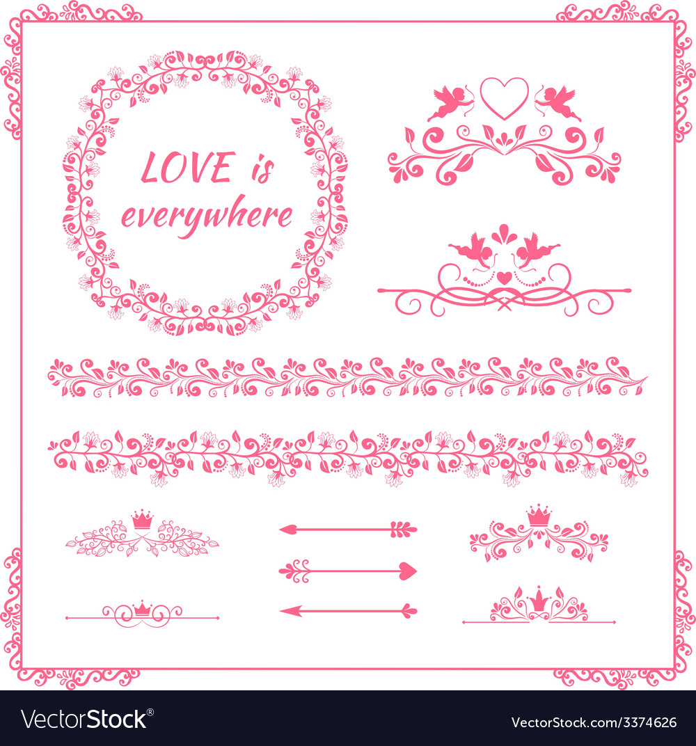 Pink floral element for wedding or birthday vector | Price: 1 Credit (USD $1)
