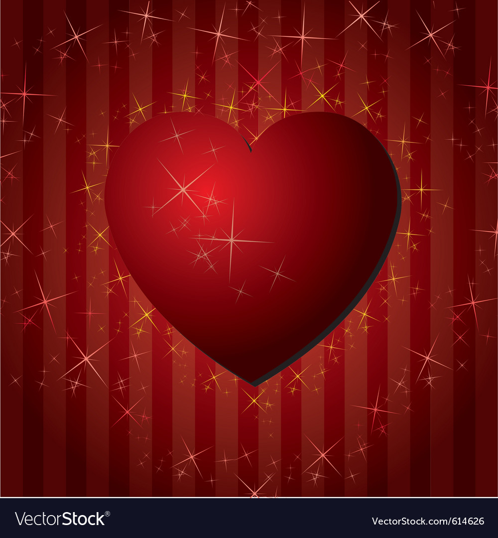 Red hearts valentines day background with stars vector | Price: 1 Credit (USD $1)