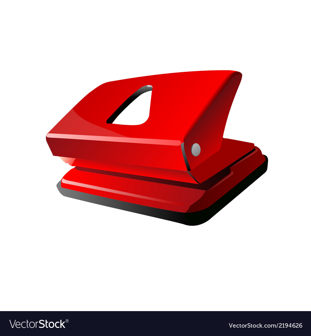 Red office hole puncher vector | Price: 1 Credit (USD $1)