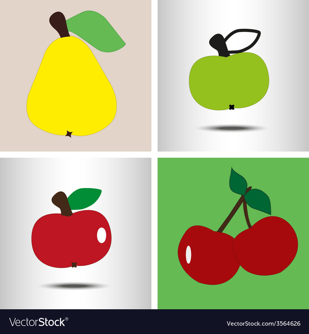 Set fruit pear apples berry vector