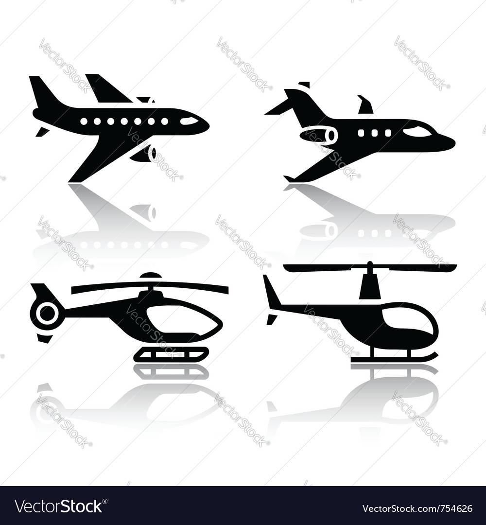Set of transport icons - airbus and helicopter vector | Price: 1 Credit (USD $1)