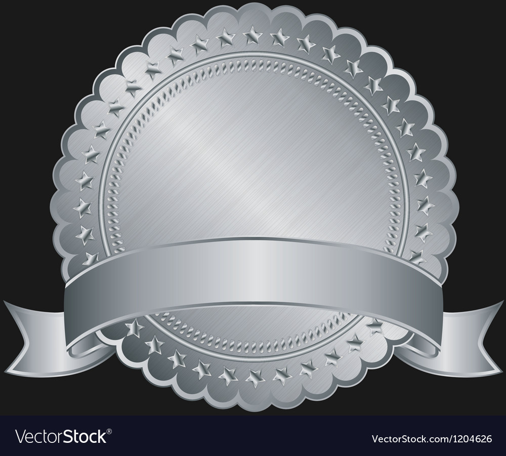 Silver blank label with silver ribbon vector | Price: 1 Credit (USD $1)