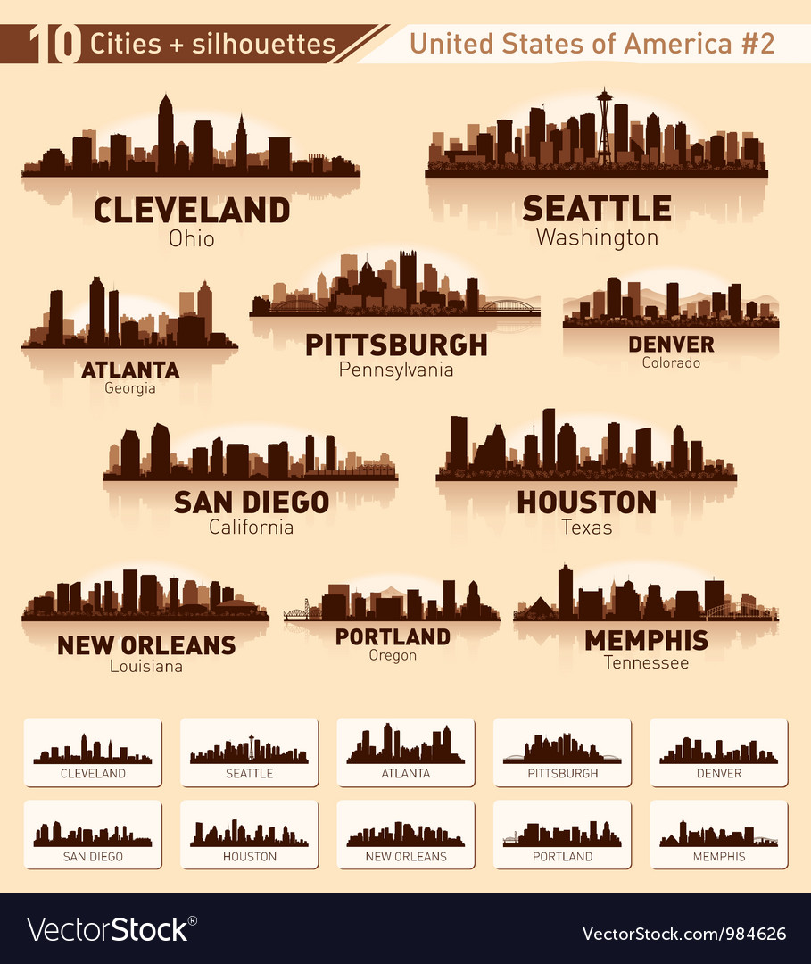 Skyline city set 10 cities of usa 2 vector | Price: 1 Credit (USD $1)