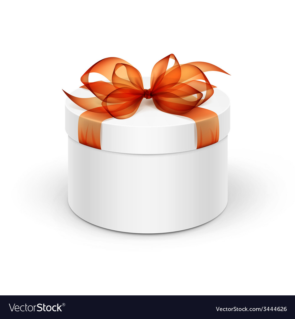 White round gift box with orange ribbon and bow vector   Price: 1 Credit (USD $1)