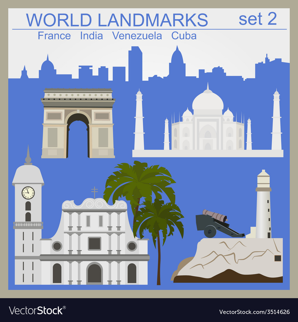 World landmarks icon set elements for creating vector | Price: 1 Credit (USD $1)