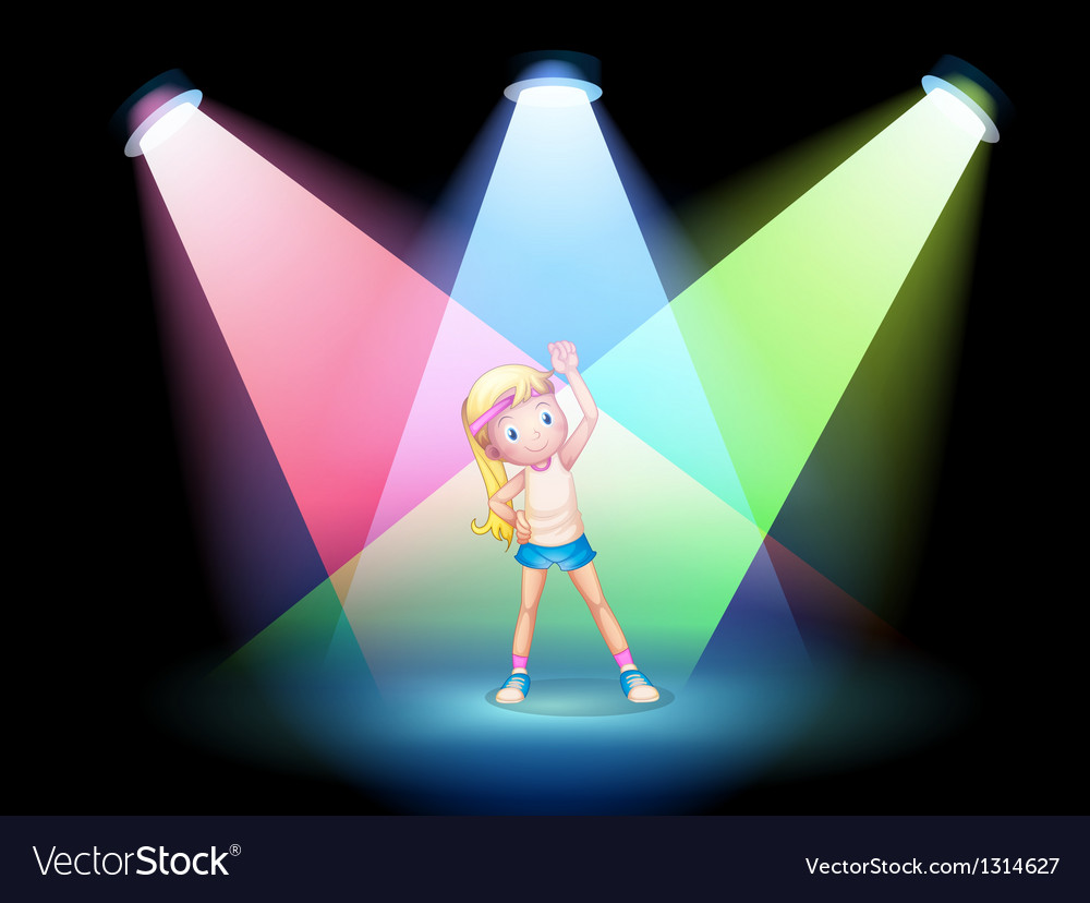 A girl exercising on the stage with spotlights vector | Price: 1 Credit (USD $1)