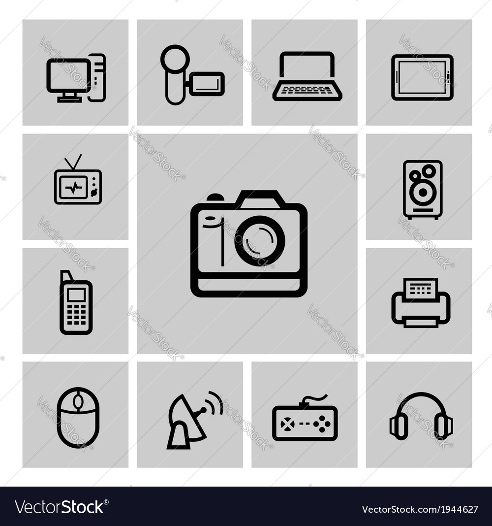 Black electronic devices icons set vector | Price: 1 Credit (USD $1)