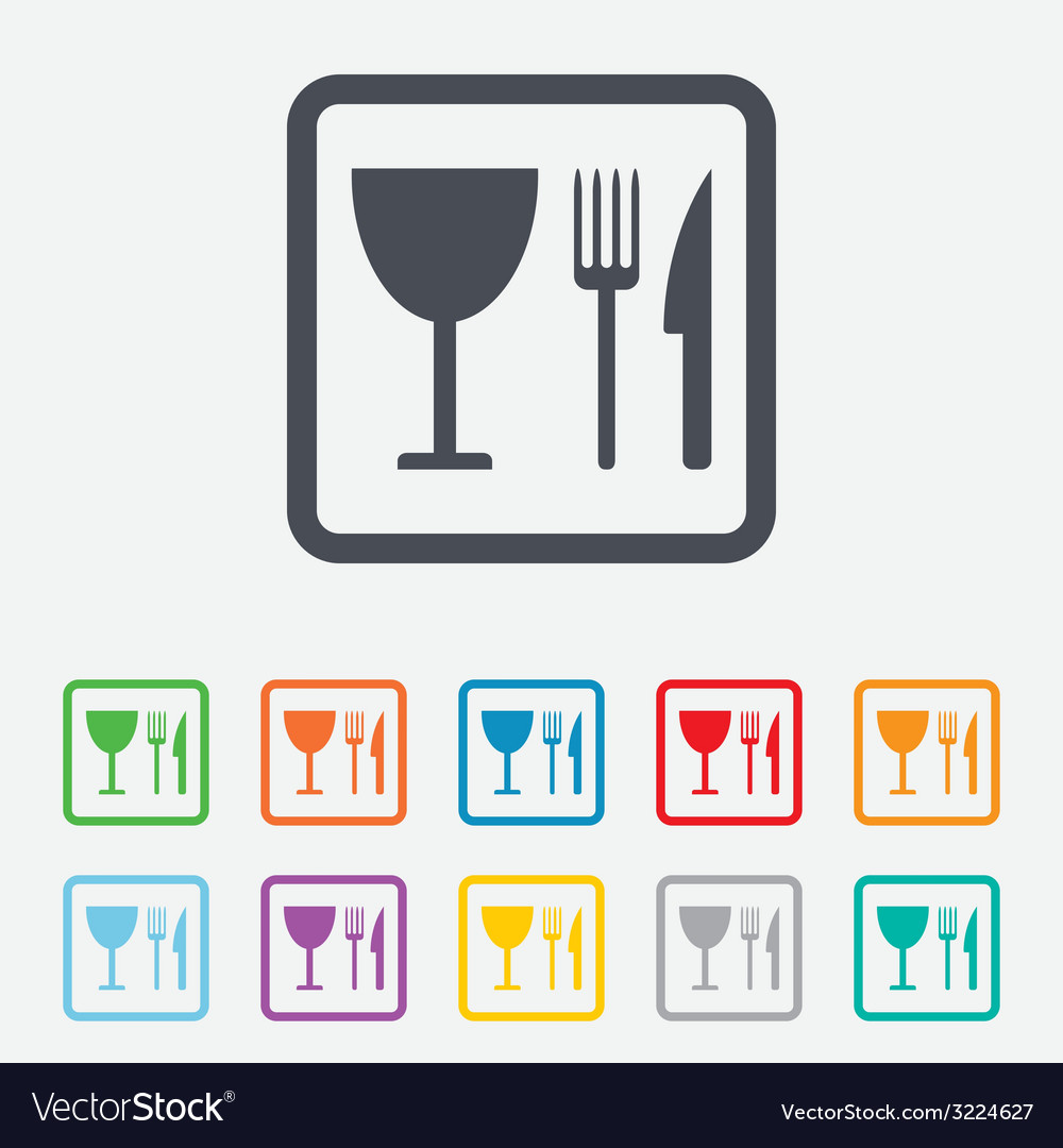 Eat sign icon knife fork and wineglass vector | Price: 1 Credit (USD $1)