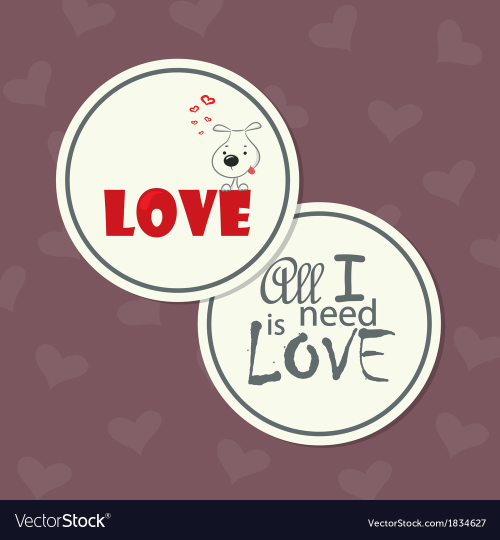 Love card with dog vector | Price: 1 Credit (USD $1)