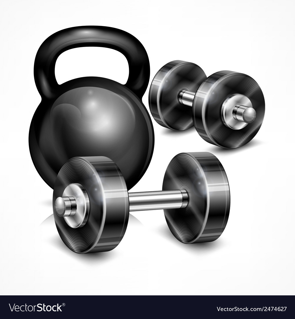 Metallic kettle bell and two vector | Price: 1 Credit (USD $1)